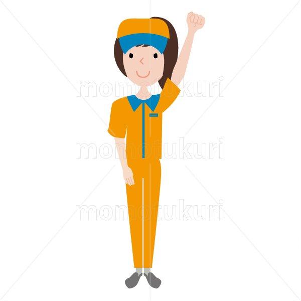 ハウスクリーニング  女性 オレンジ 半袖(帽子)おまかせください。頑張ります。