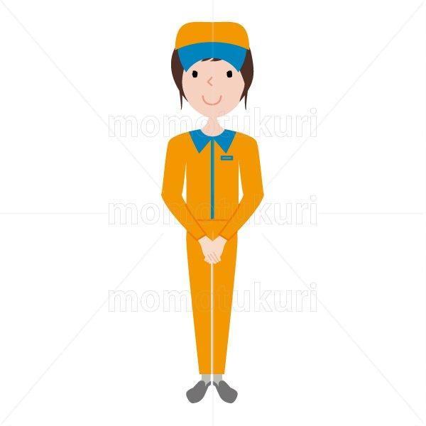ハウスクリーニング  女性 オレンジ 長袖 (帽子)よろしくお願いします。