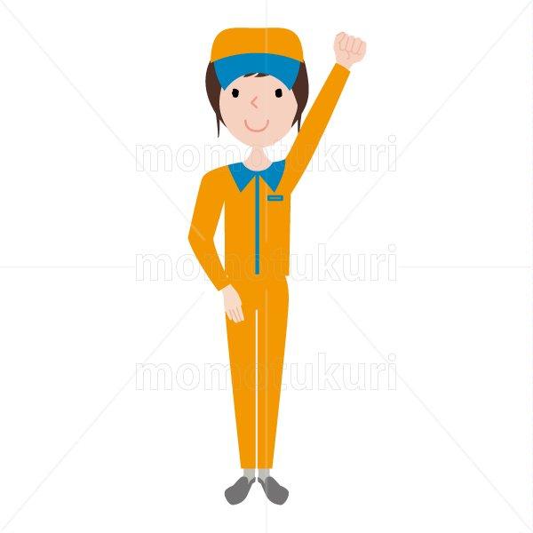ハウスクリーニング  女性 オレンジ 長袖(帽子)おまかせください。頑張ります。