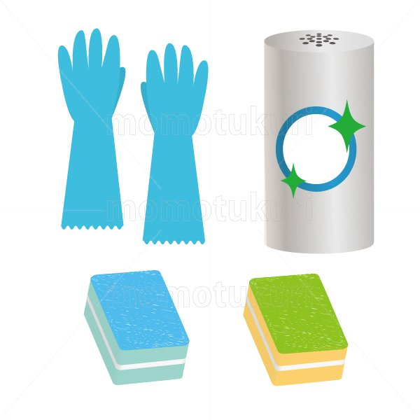 ビニール手袋 スポンジ クレンザー のイラストセット