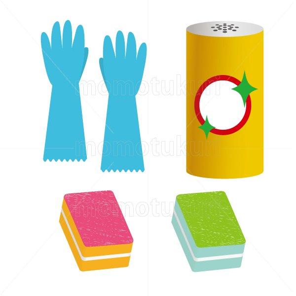 ビニール手袋 スポンジ クレンザー のイラストセット 2