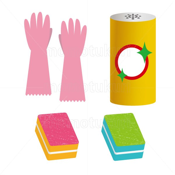 ビニール手袋 スポンジ クレンザー のイラストセット 3