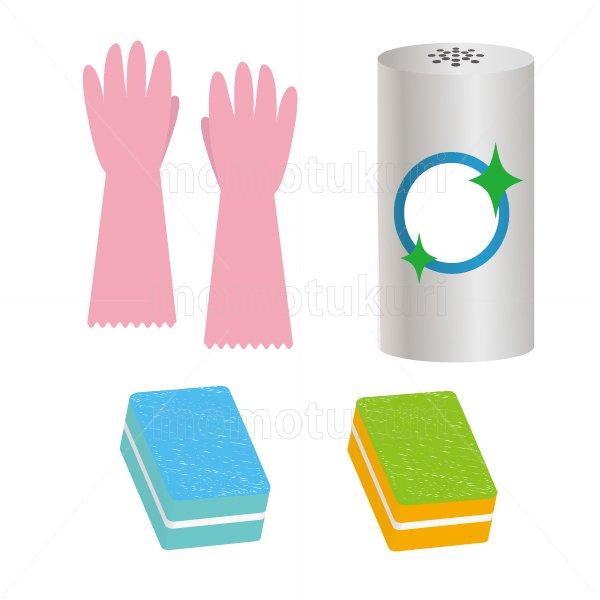 ビニール手袋 スポンジ クレンザー のイラストセット 4
