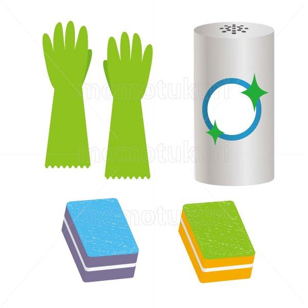 ビニール手袋 スポンジ クレンザー のイラストセット 5