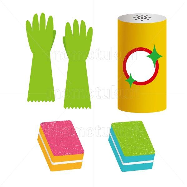 ビニール手袋 スポンジ クレンザー のイラストセット 6