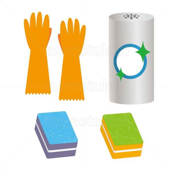 ビニール手袋 スポンジ クレンザー のイラストセット 7