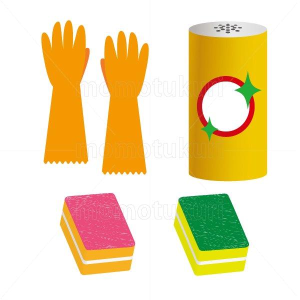 ビニール手袋 スポンジ クレンザー のイラストセット 8