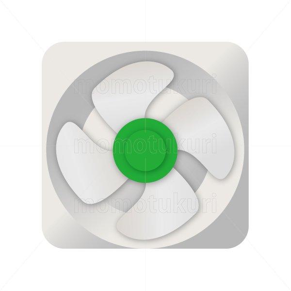 換気扇のイラスト 緑 白