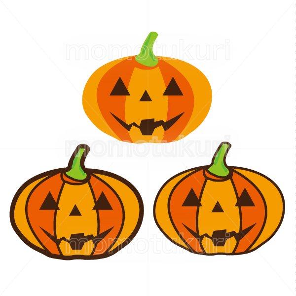 ハロウィン かぼちゃ イラスト3個セット 6