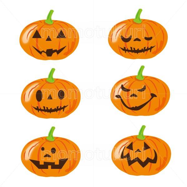 ハロウィン かぼちゃ イラスト6個セット