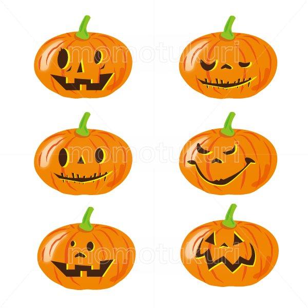 ハロウィン かぼちゃ イラスト6個セット 13
