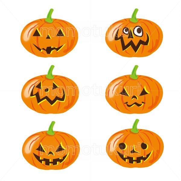 ハロウィン かぼちゃ イラスト6個セット 14