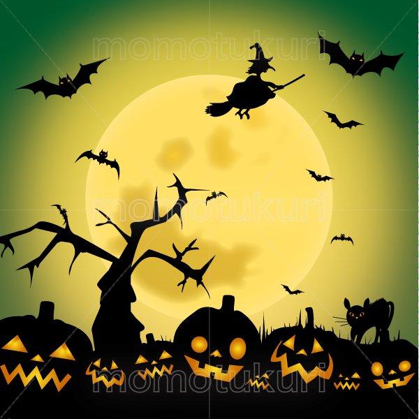 ハロウィン 背景イラスト (かぼちゃ 館 こうもり 満月   枯れ木)緑 2