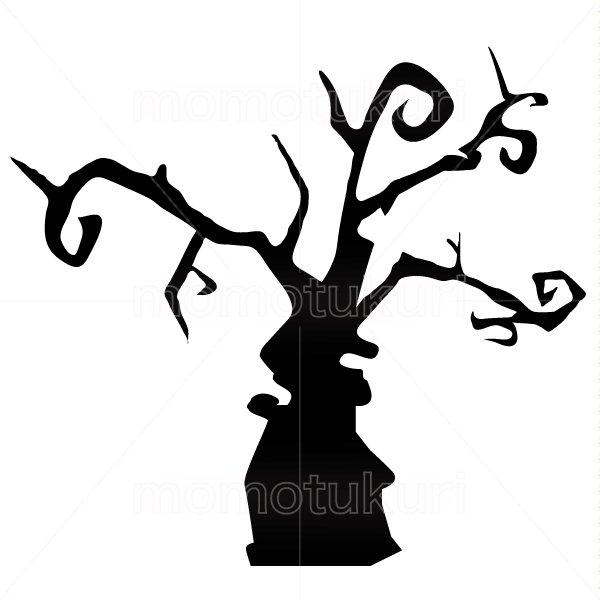 ハロウィン 枯れ木のシルエットイラスト  3