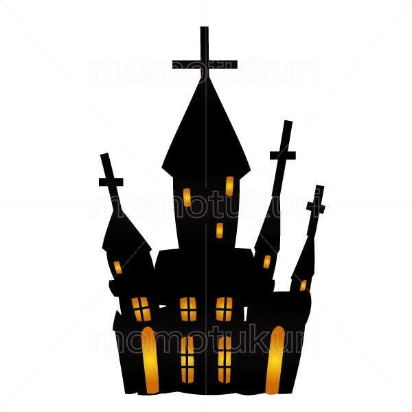 ハロウィン 館(洋館 お城 お化け屋敷)のイラスト