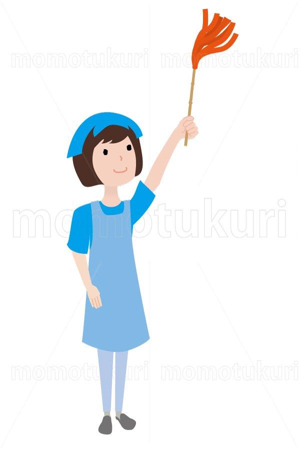 ハウスクリーニング  女性  水色 半袖(エプロン) はたきをかける  6