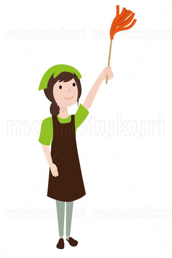 ハウスクリーニング  女性  グリーン 半袖(エプロン) はたきをかける 18