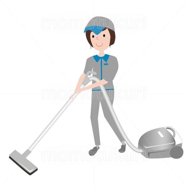 ハウスクリーニング  女性  灰色 半袖(帽子) 掃除機をかけるイラスト 16