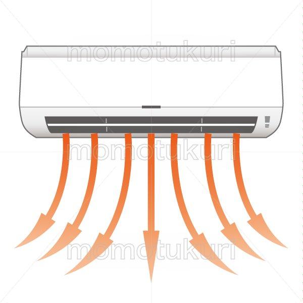 エアコンから温風が出る様子のイラスト 3
