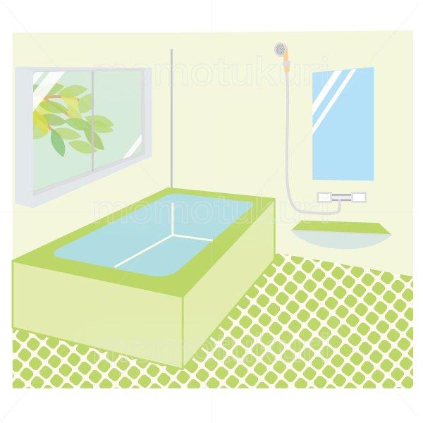 お風呂(浴室 シャワールーム バスルーム)のイラスト  緑色 2