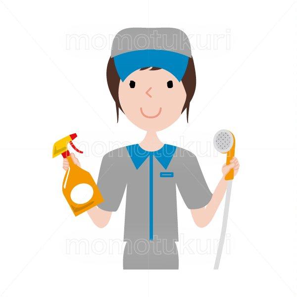 ハウスクリーニング  女性  灰色 半袖 (帽子)シャワーヘッドと洗剤を持っているイラスト。おまかせください。おススメ。OK。イラスト。上…