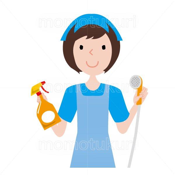 ハウスクリーニング  女性 水色 半袖 (エプロン)シャワーヘッドと洗剤を持っているイラスト。おまかせください。おススメ。OK。イラスト。上…