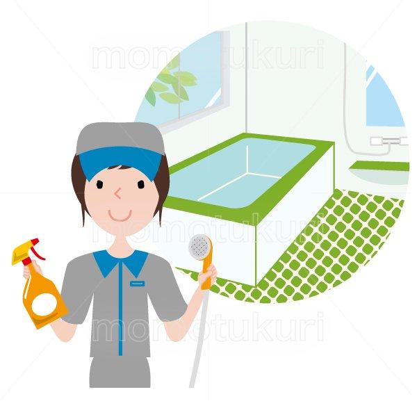 ハウスクリーニング   お風呂(浴室 シャワールーム バスルーム)の掃除 女性  灰色 半袖 (帽子)シャワーヘッドと洗剤を持っているイラスト。上…