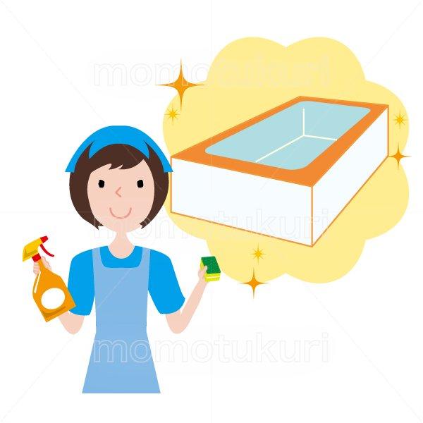 浴室清掃後キラキラ、ピカピカになった様子のイラスト ハウスクリーニング  女性  水色 半袖 (エプロン)スポンジと洗剤を持っている女性スタッフ。イラスト。上半身