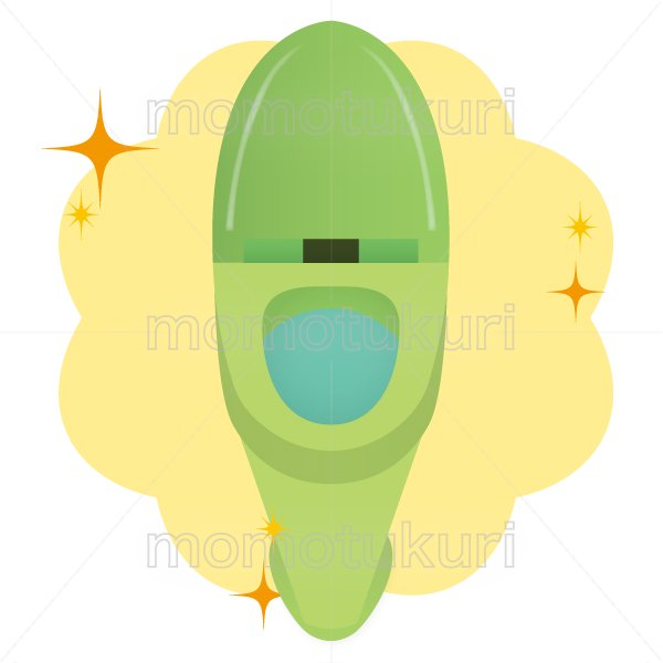 トイレ清掃後キラキラ、ピカピカになった様子のイラスト 緑