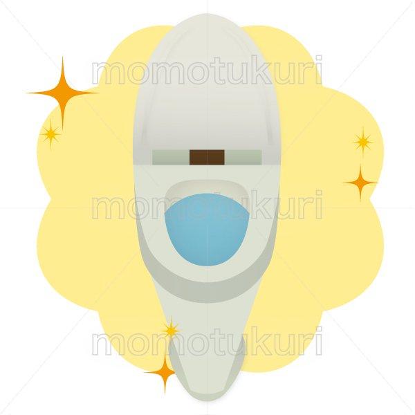 トイレ清掃後キラキラ、ピカピカになった様子のイラスト 白