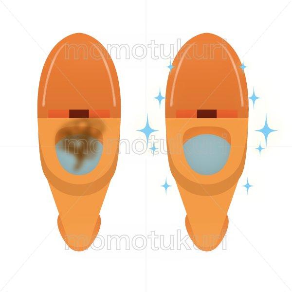 トイレ清掃後キラキラ、ピカピカになった様子のイラスト before after オレンジ