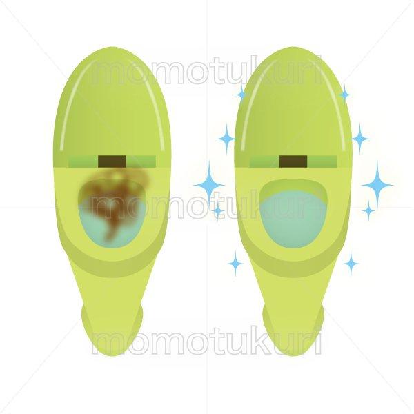 トイレ清掃後キラキラ、ピカピカになった様子のイラスト before after 緑