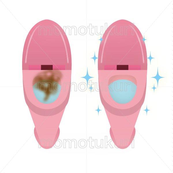 トイレ清掃後キラキラ、ピカピカになった様子のイラスト before after ピンク