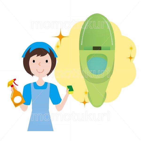 トイレ清掃後キラキラ、ピカピカになった様子のイラスト ハウスクリーニング  女性  水色 半袖 (エプロン)スポンジと洗剤を持っている女性スタッフ。イラスト。上半身