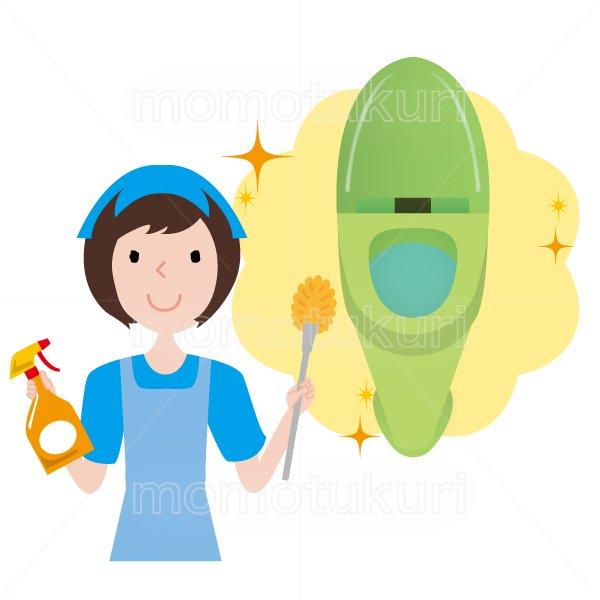 トイレ清掃後キラキラ、ピカピカになったのイラスト ハウスクリーニング  女性  灰色 半袖 (帽子)トイレ用ブラシと洗剤を持っている女性スタッフ。 女性  水色 半袖 (エプロン)
