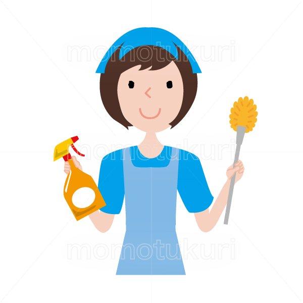 ハウスクリーニング  女性  水色 半袖 (エプロン)トイレ用ブラシと洗剤を持っている女性スタッフ。イラスト。上…