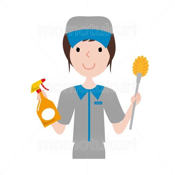 ハウスクリーニング  女性  灰色 半袖 (帽子)トイレ用ブラシと洗剤を持っている女性スタッフ。イラスト。上半身