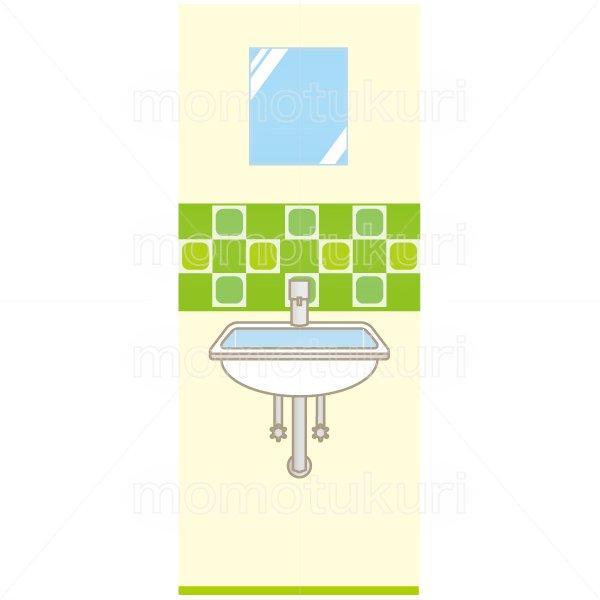 洗面所のイラスト 緑