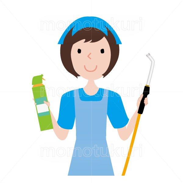 ハウスクリーニング  女性 水色 半袖 (エプロン)スポンジとエアコン掃除のノズルを持っているイラスト。おまかせください。おススメ。OK。イラスト。上半身