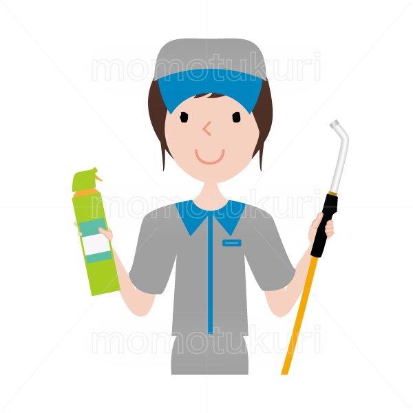 ハウスクリーニング  女性  灰色 半袖 (帽子)スポンジとエアコン掃除のノズルを持っているイラスト。おまかせください。おススメ。イラスト。上…
