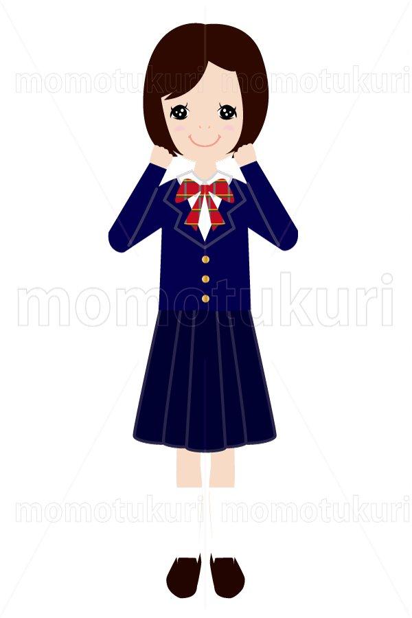 制服を着た女の子  がんばろう ガッツポーズ 2