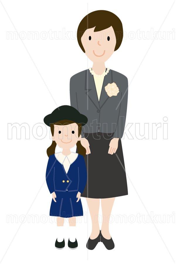 制服を着た幼稚園児と母親 女の子 少女 親子
