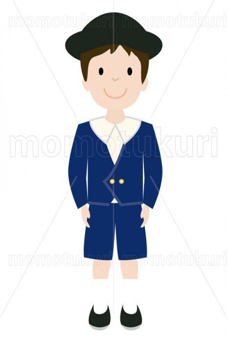 制服を着た幼稚園の男の子