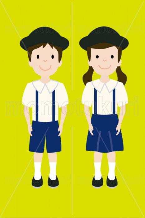 制服を着た幼稚園の男の子と女の子 3