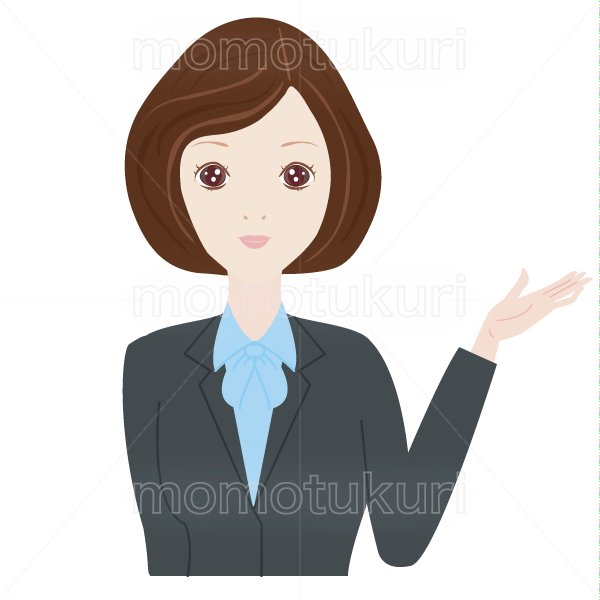 女性 OL おススメ(おすすめ)ビジネス(仕事)上半身 イラスト 2