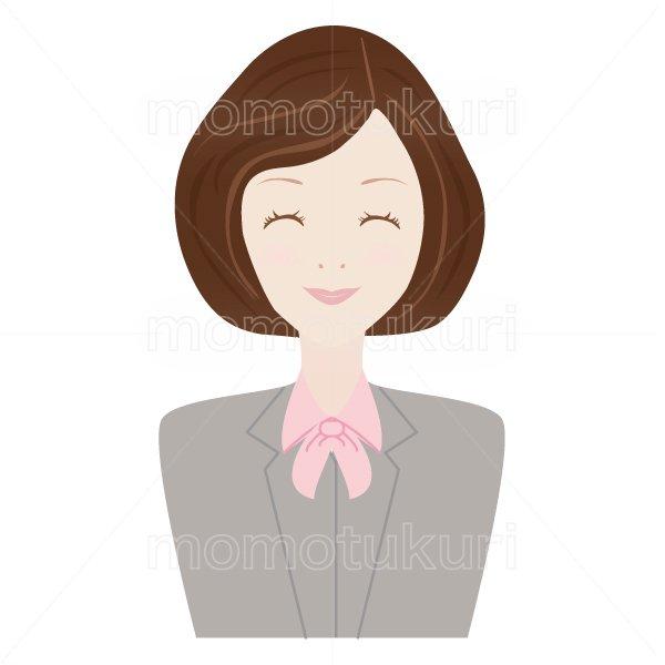 女性 OL おススメ(おすすめ)ビジネス(仕事)上半身 イラスト 笑顔 3