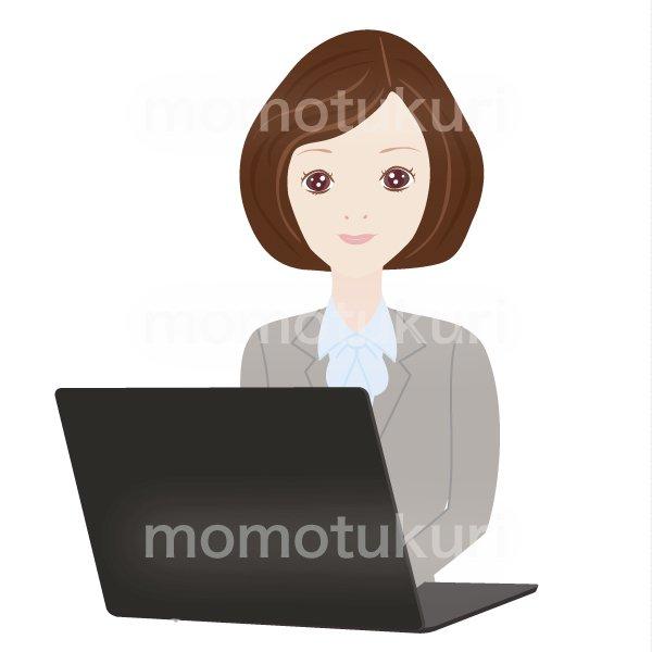 女性 パソコンで仕事をするOL ビジネス(仕事)上半身 イラスト