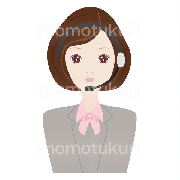 コールセンター女性 OL ビジネス(仕事)上半身 イラスト
