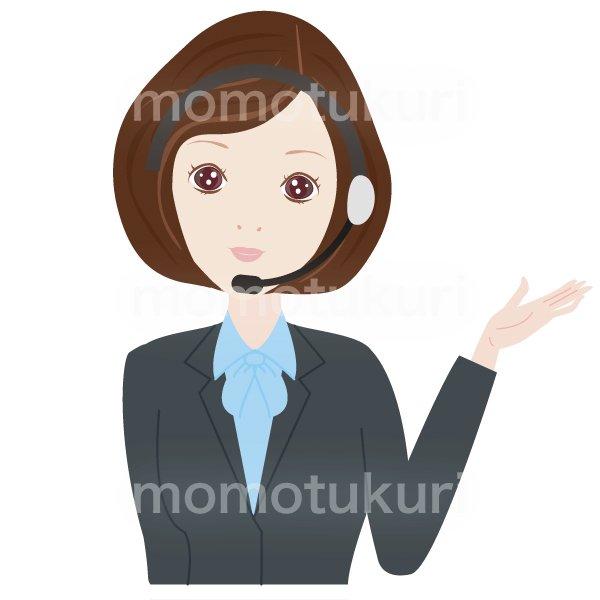 コールセンター女性 OL おススメ(おすすめ)ビジネス(仕事)上半身 イラスト 2