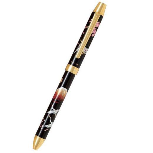 パイロット 複合筆記具(ボールペン黒0.7mm・赤・シャープ0.5mm)ツープラスワン雅蒔絵 アカフジ 赤富士 BTHM−5SR−AF